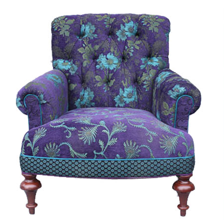 PLUM - Middlebury Chair (ottoman available) in. Poppy, Dot and Fern fabrics  in deep purple and effervescent teals and blue, turned legs are mahogany  brown.