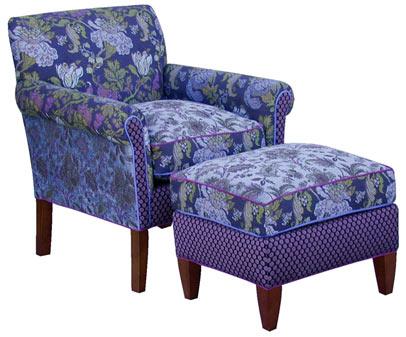 Blue Lavender - jacquard fabric Salon chair and ottoman