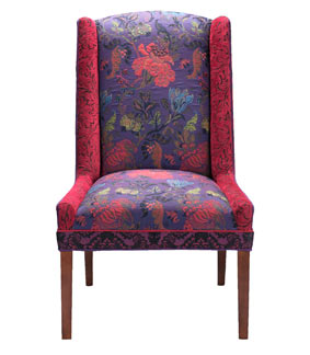 MARGARET'S VINE PLUM - handcrafted upholstered Windham chair