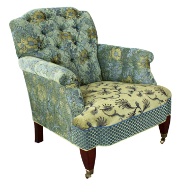 Dusk - Chelsea chair in patterns of Poppy/Dusk, Fern/Cornflower, Bedfprd vine/Danforth and Blue/green Dot