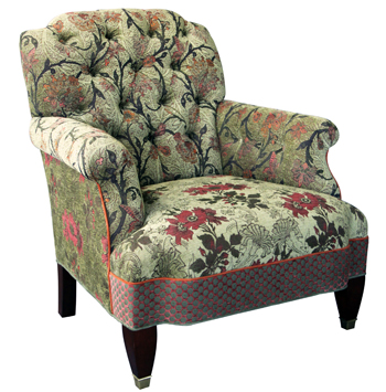 Aloe - Chelsea Chair in Patterns of Bedford vine, Poppy and orange/Green dot