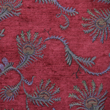 Read and Teal Fern jacquard fabric